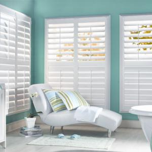 Vinyl Polysatin Shutters In Bathroom